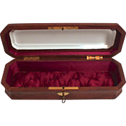 SOLD Antique French Glass Top Leather Locked Silk Lined Jewellery Display Box with Key Superb