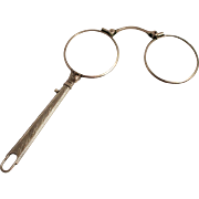 1910 English Lorgnette Silver Plated Spectacles or Eye Glasses with Handle