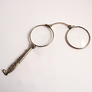 1880 French Lorgnette Enamel Silver Plated Handle Spectacles or Eye Glasses Antique