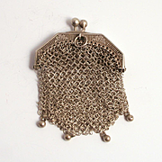 Antique French  Silver Porte Monai Debutant's Purse 1860 Pendant