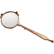 1870 Gold Plated French Lorgnette with Acanthus Decorations on Handle