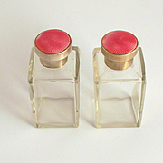 A Pair of Antique Pink Guilloche Enamel Silver Scent Perfume Bottles