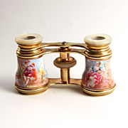 Antique Colmont of Paris Opera Glasses with Austrian Enamel in the Watteau Style