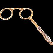 A Fabulous 1870 French Gold Plated Enamel Lorgnette Pendant with Elegant Fleur de Lis Handle .