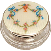 Vintage Art Deco Guilloche Enamel Sterling Silver Chrystal Dresser Jar