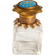 1860 French Enamel Chrystal and Gold Gilt Scent Bottle