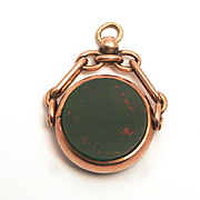 SALE PENDING Victorian 9 Karat Swivel March Birthstone Pendant or Watch Fob Bloodstone and Jas