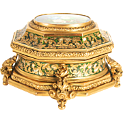 Tahan of Paris 1850 signed Jewellery Box Bombe Casket with Original Key decorated with Enamel