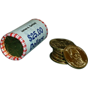 """25 Coin Roll of """"Gold"""" Presidential Dollar Coins, US Mint, Garfield"""