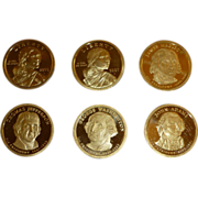 "SALE Set of Six ""Proof"" Dollar Coins, Four US Mint Presidential  ""Golden"","