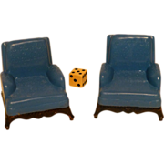 Renwal 1940 - 1950 Doll House Furniture, Living Room Club Chairs, 3/4 Scale