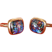 Fire Opal-Like Cuff Links, Gold Plated, 1960's,