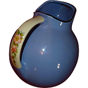 Vintage Halls Kitchenware China, Royal Rose Cadet Blue, Ball Pitcher Jug, Famous #633, Flawles