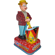 """Scarce 1950's Tin Litho Battery Operated Toy, """" The Bubble Blowing Musician """", Japan"""