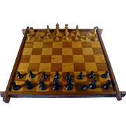 SALE 1930's Checker / Chess Board, Inlaid Hardwood, Staunton Chess Pieces,