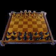 SALE 1930's Checker / Chess Board, Inlaid Hardwood, Staunton Chess Pieces,