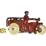 SALE The Classic Hubley Motorcycle Crash Car, Cast Iron toy, 1920's, Harley Davidson, Police