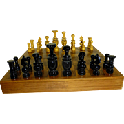 SALE Vintage Laquered Chess Set & Travel Chess Board, Immaculate