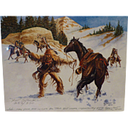 SALE Ken Schmidt Signed Vintage Print, Mountain Man Under Attack, Lone Feather Studio, NY, ...