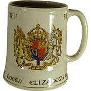 SALE Queen Elizabeth II Souvenir Coronation Coffee Cup, 1953, 18 Kt Gold Hand Painted Accents