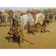 "SALE Reminton Stretched Canvas, From an 1800's Painting, "" Old Time Plains Fight "","