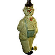 SALE Vintage Ca 1930's German Decanter, Hand Painted Porcelain, Walking Gentleman, Binoculars,