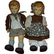 SALE Scarce Hansel and Gretel Dolls by Oumlet Co.,  Hummel - like Porcelain, Bisque, Ceramic,
