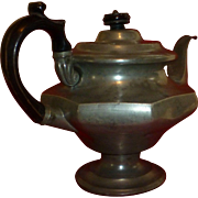 SALE 1800's  Victorian Era,  Antique Pewter Teapot, Wood Handle & Finial, American, New Englan