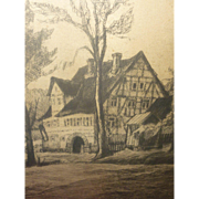 SALE Signed Walter Romberg Etching, 1953, Stuttgart Germany, Framed Artwork, Europe