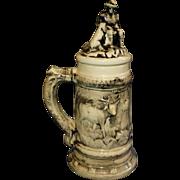 SALE Huge Vintge Germany Made Beer Stein, Porcealin, Octoberfest, Hunter and Gun, Pipe Smoker,