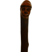 SALE Antique European Folk Art Cane, Hand Carved Peasant Woman Face, Old Cap, Signed by Carver
