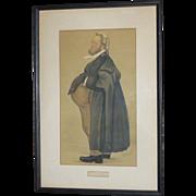 "1800's Antique,  SPY Lithograph, Victorian Era, Vanity Fair, England, by Leslie Ward, ""Jo"