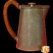 SALE Vintage Camp Pitcher, Coffee Tea Pot, Civil War Style Tankard, Original Wood Handle, Grea