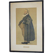SALE Vintage Vanity Fair Spy Chromo Lithograph, 1889, from Watercolor of Leslie Ward, England,