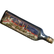 SALE 1940's Ship in a Bottle, Rye NY, Long Island Sound, Johnny Walker Kilmarnok ...