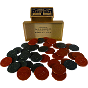 SALE Vintage Poker Chips, Circa 1910, GH Harris Co., Brooklyn, NY, Origianl Box, Clay ...