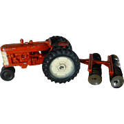 SALE Vintage 1960's Toy Farm Tractor and Disc Harrow, Die Cast, Excellent Condition