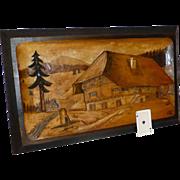 SALE Antique Black Forest Hand Carved Mountain Chalet Scene, Switzerland, Solid European Walnu