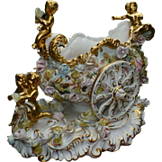 SALE Magnificent Vintage Capodimonte, Italy Import, Hand Painted Chariot Carriage, Gold Accent