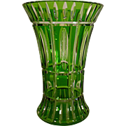 SALE Vintage Vase, Crystal Cut to Clear Art Deco, Leaded Glass, Stunning!