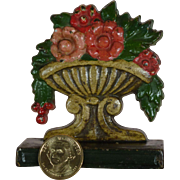 """SALE Early Cast Iron Door Stop, Superb Condition, Hand Painted, Turn of Century, """" Flower"""