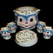 SALE 1950 Miss Priss Cat / Kitten Cookie Jar #1520,  by Lefton Japan.  Two Pairs Salt ...