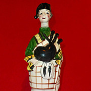 SALE 1950's Scotch Decanter, Porcelain, Vintage Arnart Japan,  Bagpipes Man and Kilt, Pottery,