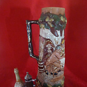 SALE Giant Vintage Ceramic Stein, Hand Painted Pottery