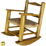 SALE Vintage Toy  Rocking Chair for Retiring Boomers, Oak and Hemp / Jute