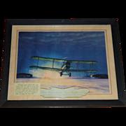 SALE DeHavilland 4 Airplane, 1921 Hubbard Lithograph, Postal Memorabilia, 1st Trans Continenta