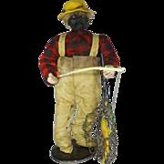 SOLD Black Memorabilia,  Apple Head Doll, 50's Vintage Folk Art, Fisherman