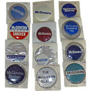 SALE 1972 Political Buttons, George McGovern, Twelve Presidential Election Buttons