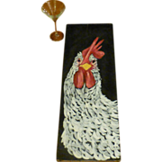 SOLD Giant Vintage Rooster Painting,  Original Oil on Wood, Vermont,