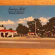 REDUCED Postcard Saratoga Motel, Redding, Calif.